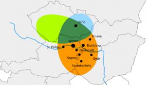 CENTROPE Region/Darstellung der Landkarte Österreich Ungran Tschchien Slowakei