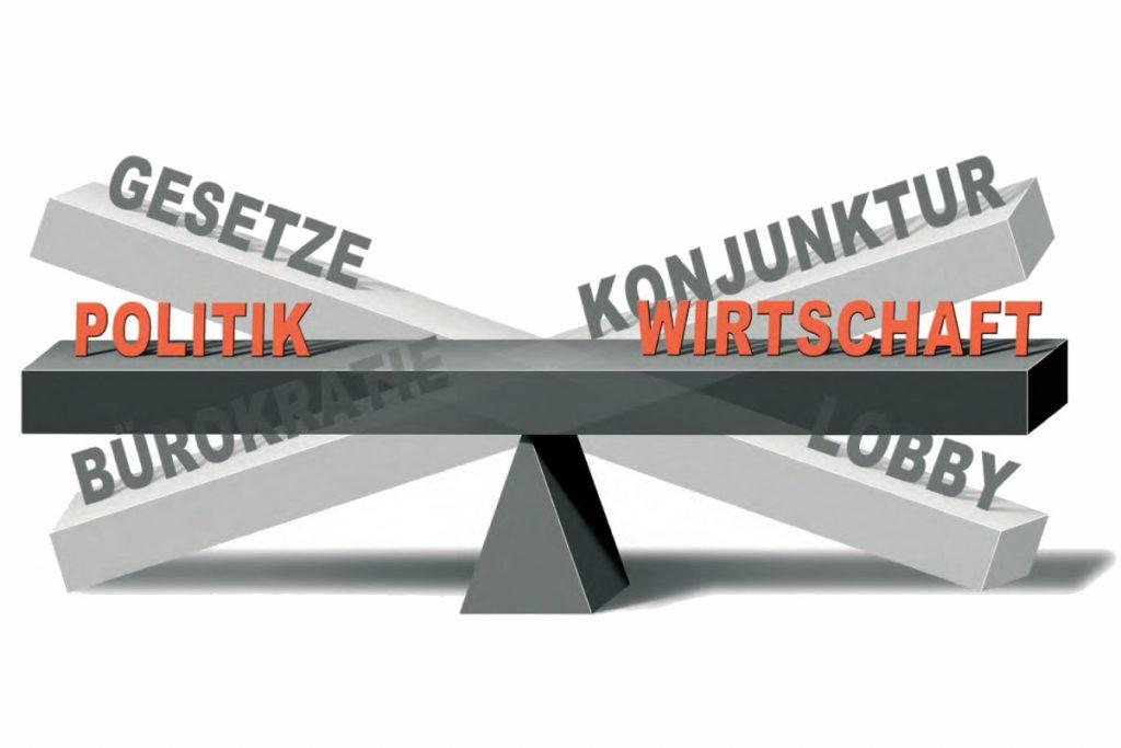 Weißes Bild mit einer Grauen Waage, auf der folgende Begriffe stehen: Politik, Wirtschaft, Gesetze, Konjunktur, Bürokratie und Lobby